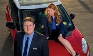 Peter Kay as John and Sian Gibson as Kayleigh in the BBC comedy Car Share.