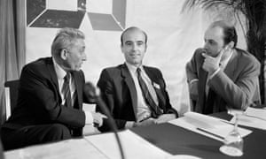 Alain Juppe (C), deputy mayor in charge of Finances of Paris, Bernard Pons (L), general secretary of RPR and Jacques Toubon (R) MP of Paris, attend the central committee, on July 7, 1984, in Paris.