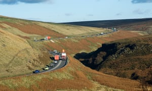 Traffic on the A628 route crossing the Woodhead Pass. The 40-mile journey between Sheffield and Manchester can easily take two hours by car, and the fastest train takes 48 minutes.