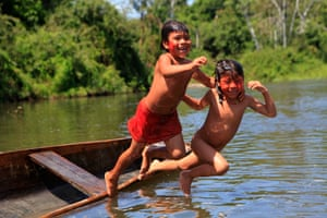 Children playing in the Ipixuna river at an Araweté village called Juruanty.