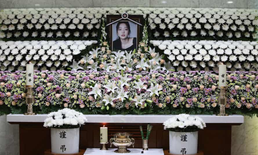 A memorial for K-pop star Goo Hara in Seoul at St. Mary's Hospital following her suicide in November.