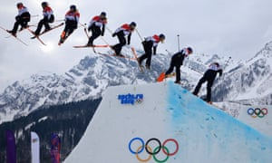 A multiple exposure shot of Katie Summerhayes in the Ladies Ski Slopestyle qualification at the Rosa Khutor Extreme Park during the 2014 Sochi Olympic Games.