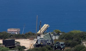 A Patriot anti-missile battery is deployed in Haifa. The same kind of missile was used to shoot down the drone near Safed.