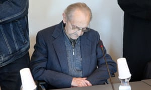 Hubert Zafke sits in a courtroom before the start of his trial in Neubrandenburg.