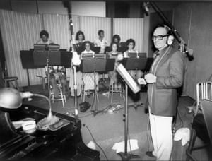 Ennio Morricone records a choral group for the score of Exorcist II: The Heretic in Los Angeles, California in 1977