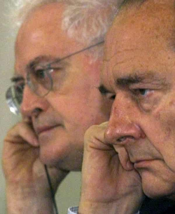 Lionel Jospin, left, and Jacques Chirac listening to a question during a press conference at the end of a French-German summit in Potsdam.