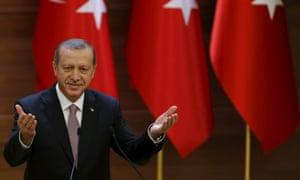 The Turkish president, Recep Tayyip Erdoğan