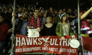 The Hawks Ultras in the stands during Whitehawk FC's FA Cup second-round replay against Dagenham & Redbridge in December 2015.