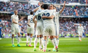 Real Madrid celebrate their third against Alavés.
