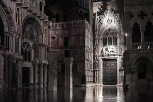St. Mark's Basilica and the Doge's Palace on the flooded Piazza San Marco