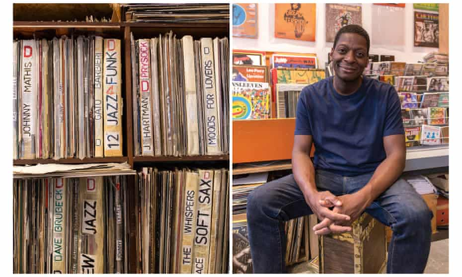 Stock of vinyl at Maestro Shop and the shop's owner Michael Fountanie
