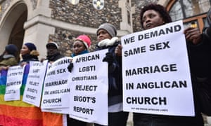 Gay rights protesters lobby delegates at February's general synod in London.