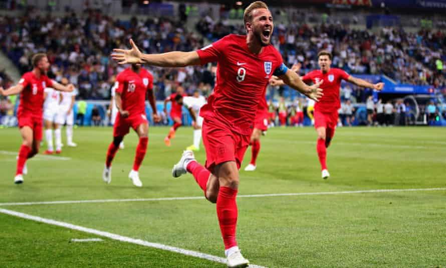 England captain Harry Kane celebrates scoring against Tunisia at the 2018 World Cup