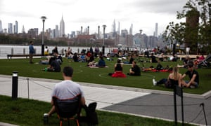 The scene at Domino Park in Williamsburg earlier in September. New York state has recorded more than 450,000 cases and more than 25,000 deaths.