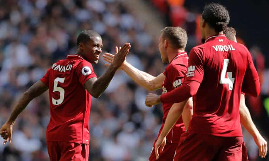 Georginio Wijnaldum celebrates after his opening goal for Liverpool – his first away from home in the Premier League.