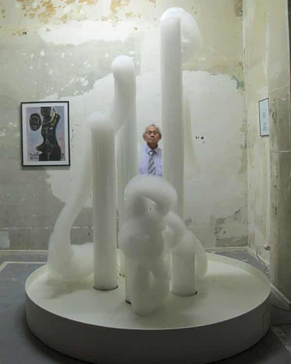 David Medalla pictured with one of his 'bubble machines', 2012.