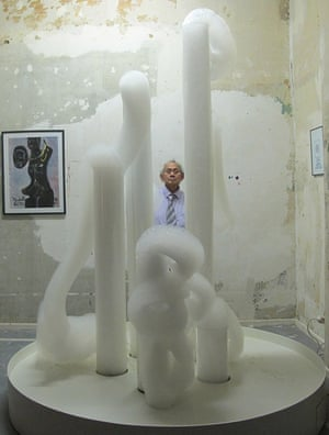 David Medalla pictured with one of his bubble machines sculpture in 2012.