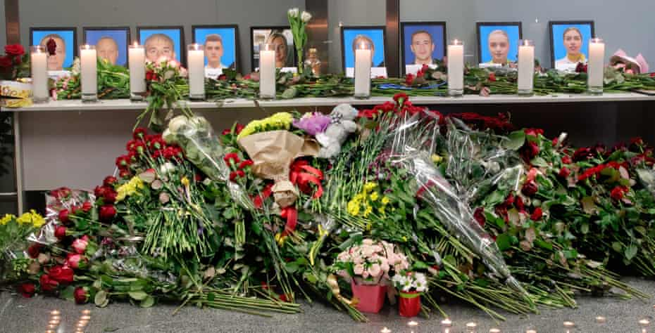 Tributes to some of the victims of the Iran plane crash at Boryspil International Airport in Kyiv.
