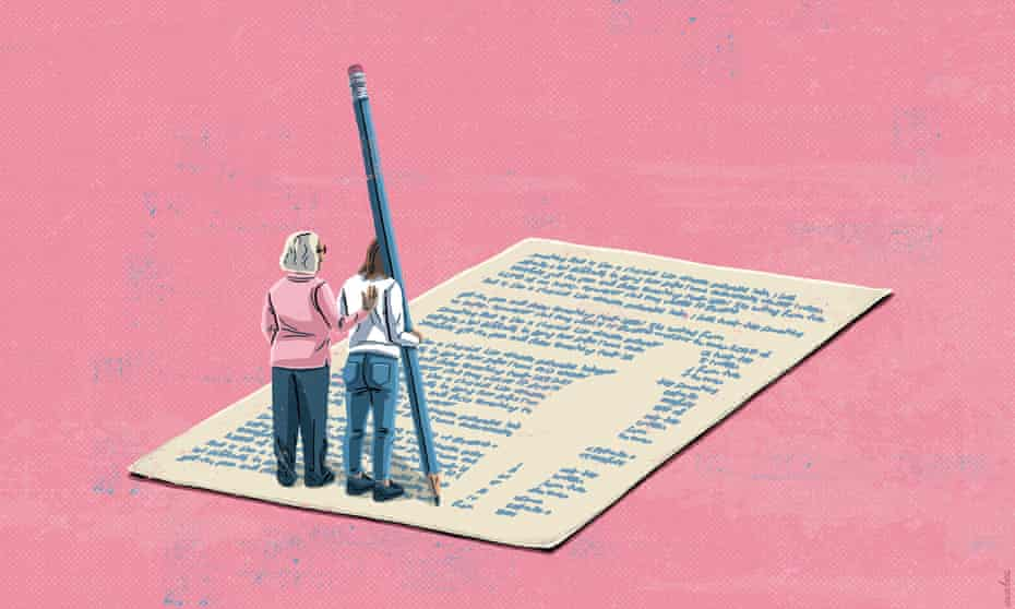 Illustration of two figures on a giant piece of paper with writing on it. One is holding a giant pencil. On a pink background