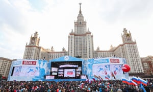 People in Moscow attend a concert marking the third anniversary of Crimea's reunification with Russia, 18 March 2017.