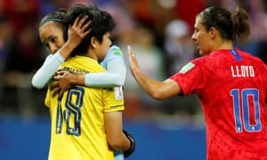 Commiserations for Thailand's keeper Sukanya Chor Charoenying after the final whistle brought an end to her torrid evening.