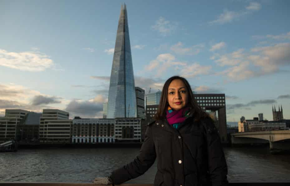 Roma Agrawal photographed with the Shard in the distance