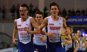 Norway's Jakob Ingebrigtsen and his brother Henrik lead Britain's Chris O'Hare