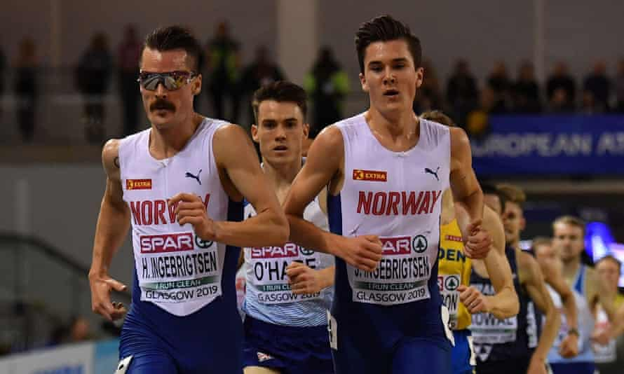 Norway's Jakob Ingebrigtsen and his brother Henrik lead Britain's Chris O'Hare