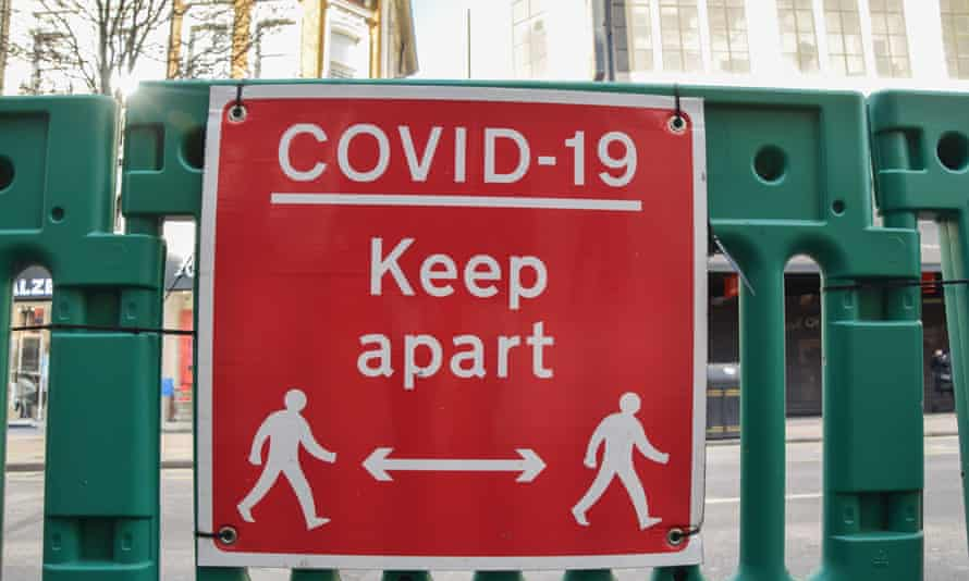 A sign on Oxford Street, London, February 2021