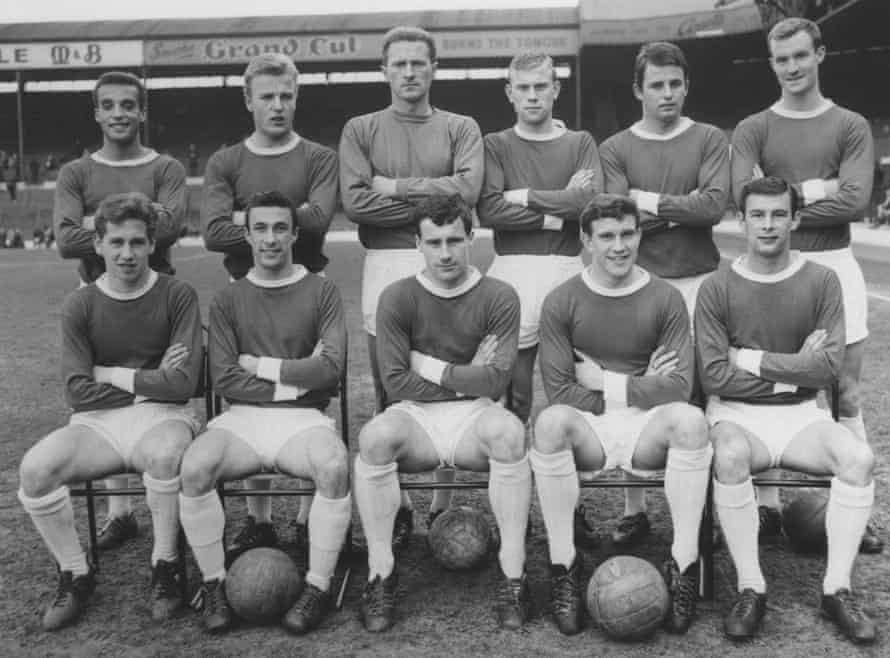 Dennis Walker with Manchester United's reserves, including the goalkeeper Harry Gregg, at West Brom in May 1963, days before his first-team debut.