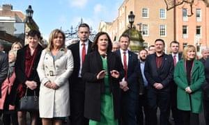 Sinn Fein leader Mary Lou McDonald (centre), 20 February, in Dublin, Ireland.