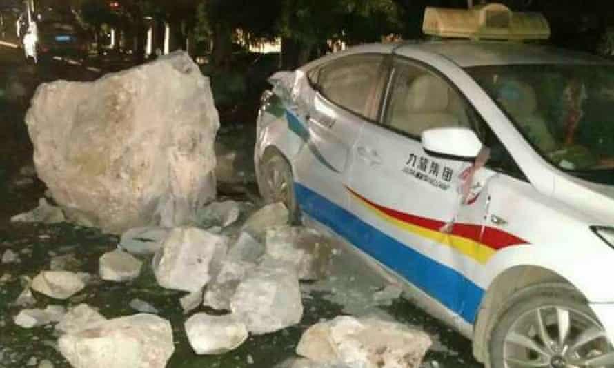 A taxi damaged by the earthquake in Jiuzhaigou county, China