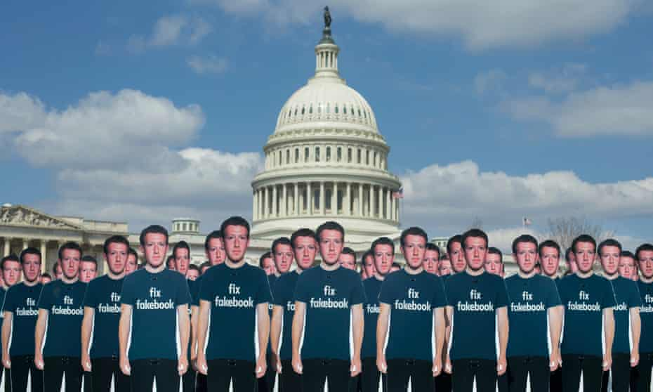Cutouts of Facebook CEO Mark Zuckerberg placed outside the Capitol in protest ahead of his testimony before a joint hearing of the Senate Judiciary and Commerce Committees in 2018.