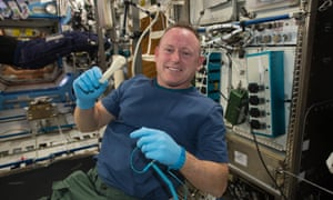 Astronaut Barry Wilmore and a printed wrench