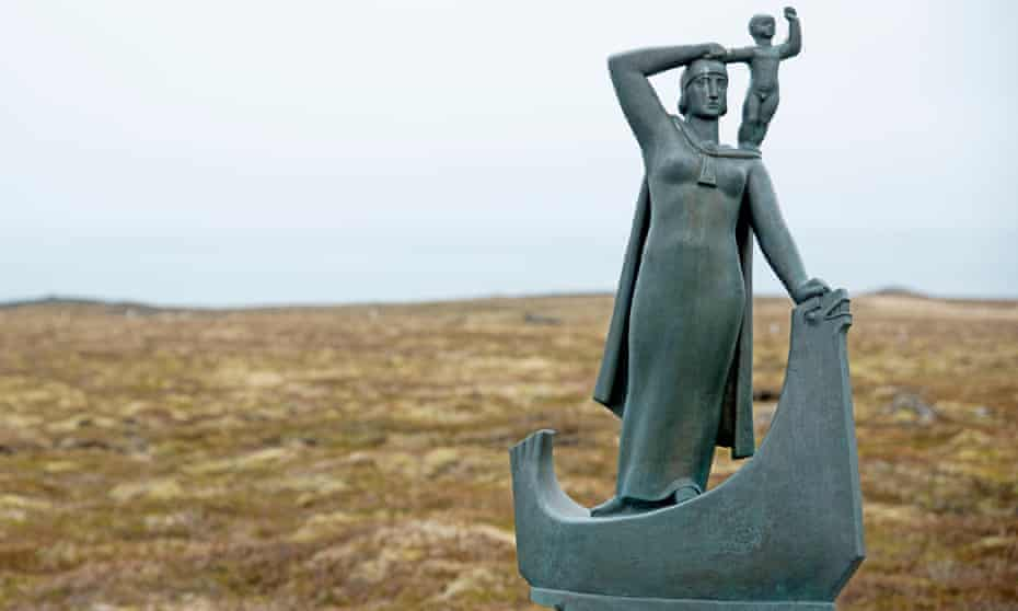 A statue of Gudrid Thorbjarnardóttir on Iceland's Snæfellsnes peninsula.