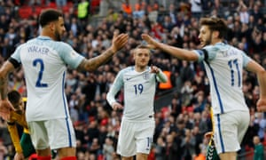 Vardy celebrates scoring the second for England.