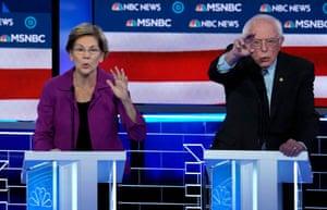 Elizabeth Warren with Bernie Sanders.