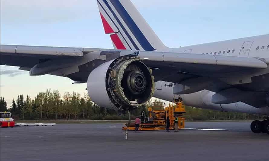 Photo taken by Air France passenger David Rehmar who was on the A380 flight from Paris to Los Angeles that was diverted to Newfoundland after one of its engines sustained serious damage.