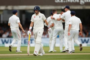 England's Joe Root looks dejected after being caught out by Ireland's Gary Wilson.