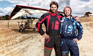 A still from Motor Kite Dreaming, with a microlight in the background.