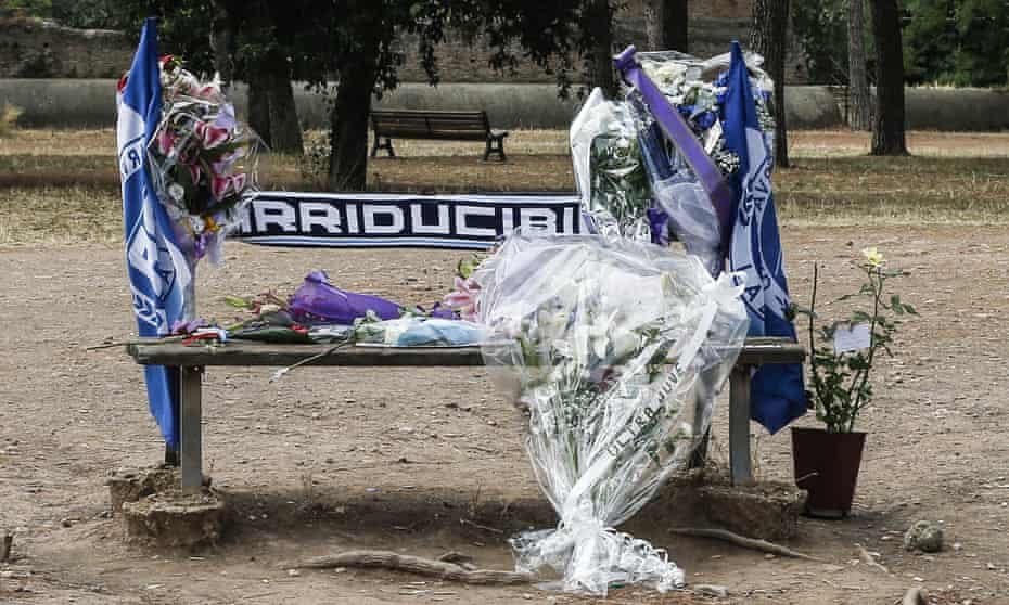 The bench where Fabrizio Piscitelli, the head of the Lazio supporters, known by the nickname Diabolik, was found, in Rome last week.