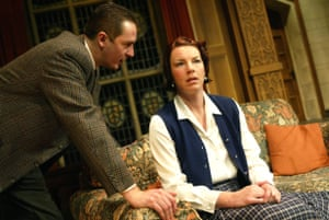 Matthew Wilson as Sergeant Trotter, Theatreland's best known detective, with Lisa Barry in the 2002 cast of The Mousetrap, which has been running for 66 years in the West End.