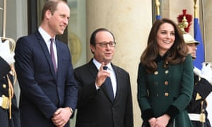 The Duke and Duchess of Cambridge are greeted by President François Hollande at the Elysée Palace in Paris.