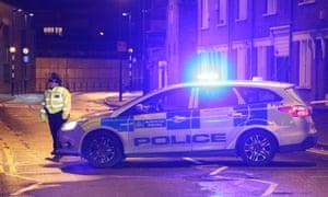 Police at crime scene in Hackney, London