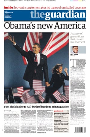 Guardian front page: 'Obama's new America'