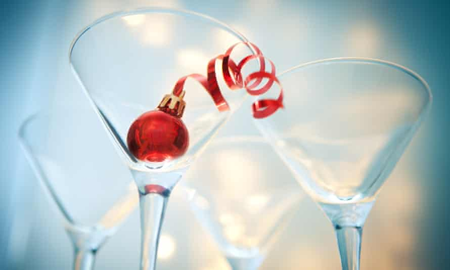 Christmas decoration.Christmas decoration in a martini glass with bokeh background.