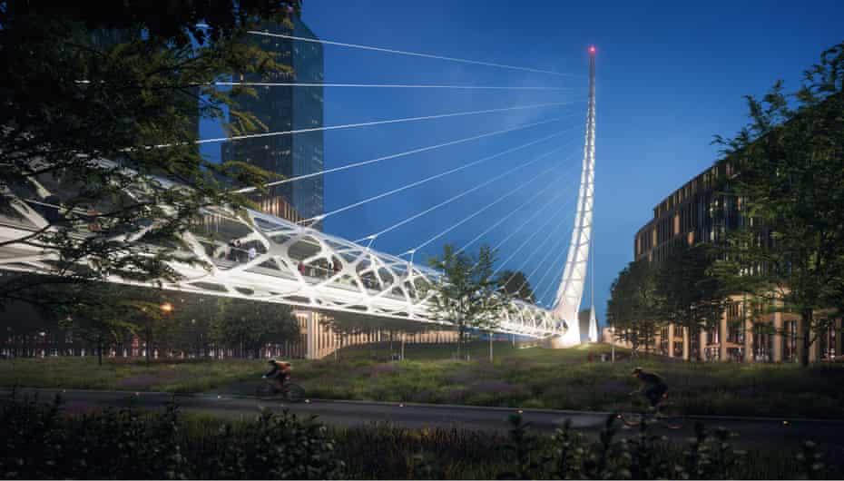 The bridge to Meridian Quays, in Calatrava's signature style.