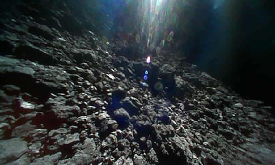 An image of the surface of asteroid Ryugu, in space, made available by the Japanese space agency JAXA