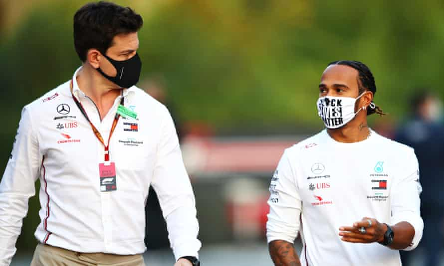 Lewis Hamilton and Toto Wolff in the paddock in Imola over the weekend. The pair both joined Mercedes in 2013 and have enjoyed huge success.