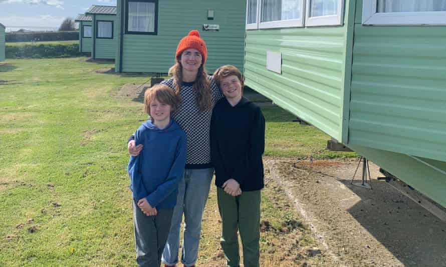 The writer and her kids on the caravan park